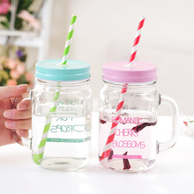ZELU Vintage Mason Jar 500ML Durable Color Changing Glass bottle Bar Party Club Coffee Shop Beer Milk Juice Tea with Paper Straw(China)