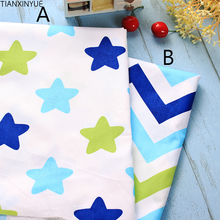 Many size 100% Cotton twill cloth new nordic wind simple white/blue stars zigzag for DIY clothes cushions quilting telas fabric