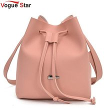 2018 Girls Cute Korean Bags Bucket Leather Shoulder Sling Bags For Women Drawstring Handbags Ladies Crossbody Bucket Bags LB652(China)
