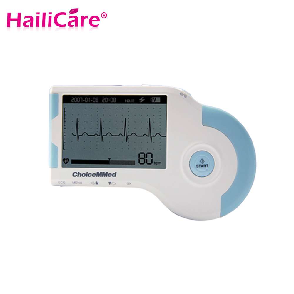 Portable Handheld ECG EKG Heart Monitor Electrocardiogram Rapid ECG tester With CD 3-lead Electrodes Cable Personal Care Healthy<br><br>Aliexpress