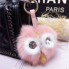Luxury Limited Cute Owl Edition Little Monster Fluffy Pompons Real Fox Fur Keychain Women Bag Charms Pendant Key Ring Chaveiro