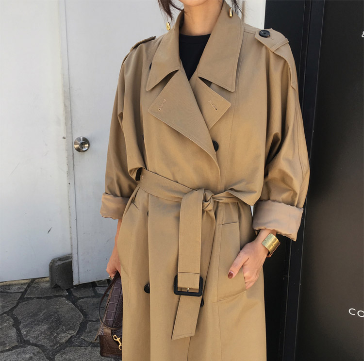khaki Trench Coat Casual women's long Outerwear loose clothes for lady with belt spring autumn fashion high quality army green 15