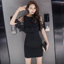 2017 summer new fashion Women's sexy dresses mesh patchwork lace sleeveless slim Pack hip ladies black Dinner party  dress