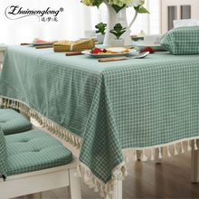5 Size Table Cloth Country Style Plaid Anchored Tassels Multifunctional Rectangle Table Cover Tablecloth Home Kitchen Decoration