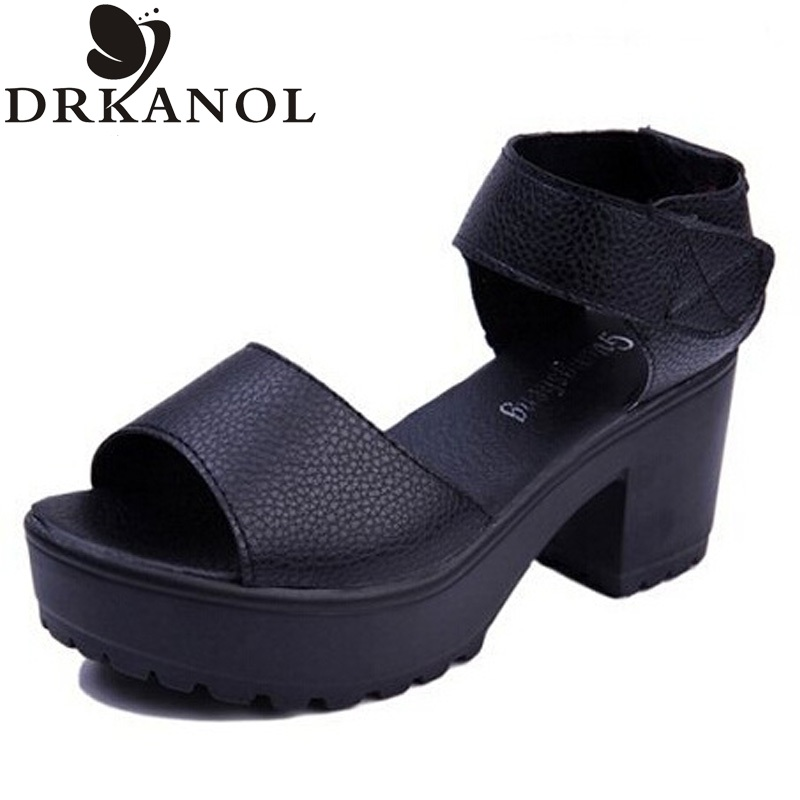 2017 Women Thick Heels Sandals Summer Thick Bottom Hook &amp; Loop Women Sandals Black White Large Size Women Shoes Platform Sandals<br><br>Aliexpress