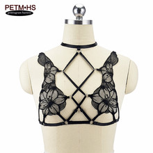 Womens Sexy Lace Sheer Cage bralette Black Elastic Body Harness Lingerie Goth Tops Bondage Open chest Throug Bikini Rave Wear