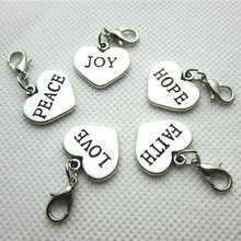 Free Shipping! Mix Alphabet Letter Heart  Dangle Charms Pendant For Thomas Charms Bracelets  50pcs/lot
