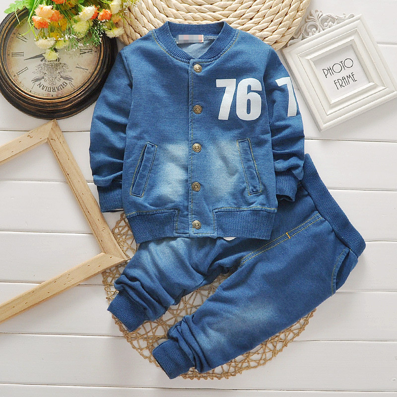 Baby Boys Clothing Set 2016 Fashion Boys Suits Denim Jeans Coat 2PCS Sets Toddler Kids Casual Clothes Suit Children Clothing Set<br>