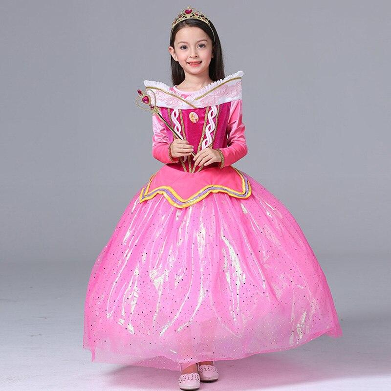 Sleeping Beauty Princess Aurora dress mesh Children costume rapunzel ball gown girl cosplay Princess costumes children<br>