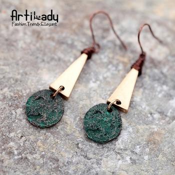 Artilady zinc alloy triangle drop earrings vintage gold plated twist earrings for women jewelry