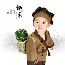Chu He Interesting Ancient Chinese Costume for Photography Little Farmer Costume for Baby Boy 90cmH(China)