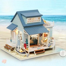DIY House Doll Assemble 3D Wood Dollhouse Furniture Kits Realistic Dollhouse Miniature Toys LED Light for Chrismas Decorations(China)