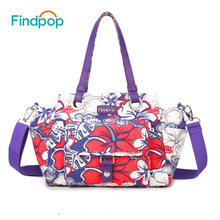 Findpop Large Capacity Handbag Women Green Leaves Canvas Tote Bag 2017 Waterproof Crossbody Bag For Women Fashion Bolsa Feminina(China)