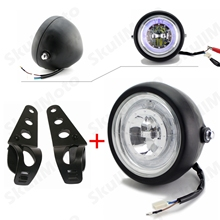 "Black LED 6 1/2"" Motorcycle Headlight HeadLamp For Kawasaki Harley Honda Suzuki Yamaha W/ Bracket Blue Angel Eye Custom"