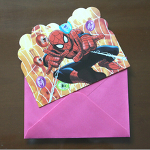 6pcs Cards+6pcs Envelopes Spiderman Theme Invitation Card kids Birthday Christmas Children's day Party Decoration