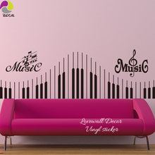 Music Note Wall Sticker Piano Keyboard Decal,Musical Rock Violin Jazz For Bedroom Sofa  Bedside Vinyl Easy Removable DIY