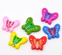 20*23mm Assorted Colors Cute Butterly Wood Spacer Beads Fashion Jewelry diy Findings For Girls Children Handmade Exercise(China)
