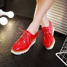 New England coach platform shoes lace-up wedges shoes large restore ancient ways recreational shoe big yards single shoes