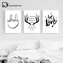 Nordic Style Deer Antlers Bible Canvas Poster Minimalist Wall Art Prints Black White Abstract Painting Picture Modern Home Decor(China)