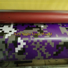 Purple Digital Camo Vinyl Car Wrap Styling Air Bubble Free Pixel Camouflage Film Graphics Size 1.52*30m/Roll