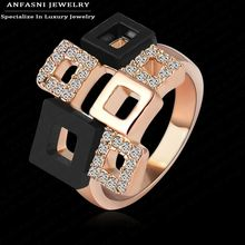 ANFASNI Best Selling Items Square Rings Unique Design Rose Gold Genuine SWA Stellux Austrian Crystal Rings Bijoux RI-HQ1114