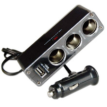 3 WAY MULTI SOCKET CAR CIGARETTE LIGHTER SPLITTER USB PLUG CHARGER DC 12V/24V Triple ADAPTER With USB Port