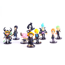Anime Animation One Piece Luffy Zoro Nami Robin Chopper PVC Action Figures Collectible Model Q version Toys Doll 8cm 9pcs/set