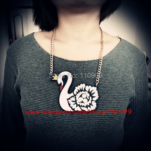 White Swan Necklace Laser cutting Art Woman's fashion Pendant