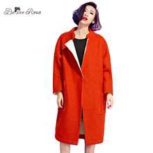 BelineRosa 2017 Women's Winter Coats European Fashion Orange Red Pure Color Big Pocket Plus Size Women Clothing TYW00544(China)
