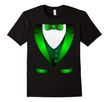 2017 Cotton T Shirts Clothing Short Graphic Irish st patrick's day leprechaun Irish tuxedo t shirt(China)
