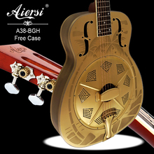 Left handed guitar Resonator Guitar O style Bell Brass Body Blues Slide Hawaiian sandblasted free guitar trap guitar pick 38-BGH(China)