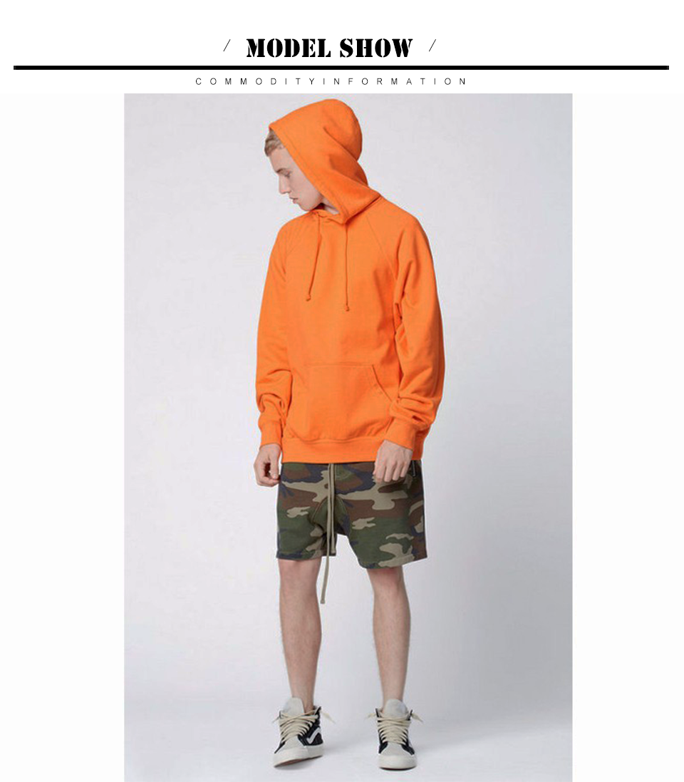 17 fashion color orange hooides men's thick clothes winter sweatshirts men Hip Hop Streetwear solid fleece hoody man Clothing 6