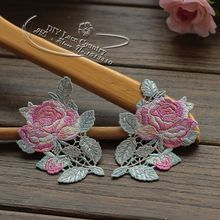 Size-9*6.5cm(2 pair/lot) Embroidered Polyester Lace Applique Sewing Patch for Collar