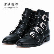 2017 Genuine Leather Ankle Boots Women Shoes Women Suede Pointed Motorcycle Snow Boots Designer Woman Flats Punk Botas Feminios(China)