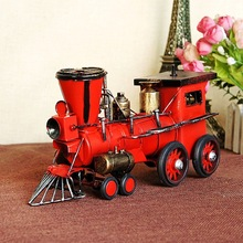 Vintage Train Head Model Metal Iron Handmade Red Simulation Train Model Steam Engine Crafts Home Office Table Decoration 7115