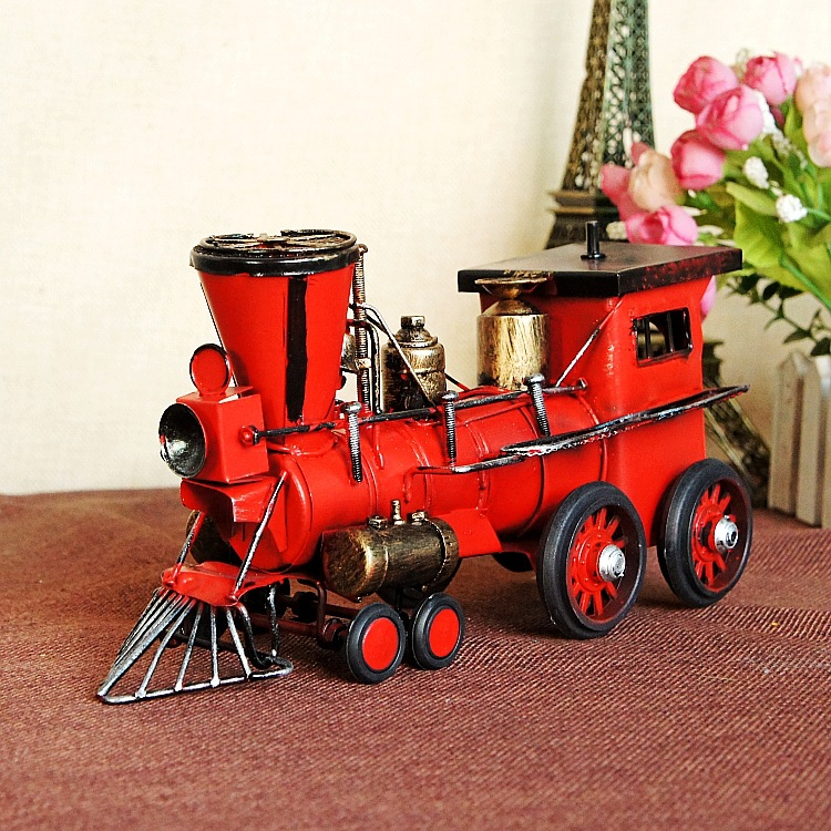 Vintage Train Head Model Metal Iron Handmade Red Simulation Train Model Steam Engine Crafts Home Office Table Decoration 7115<br>