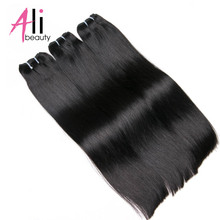 "Ali-Beauty 1# Jet Black Straight Human Hair Weft 100% Remy Hair Extensions 18-24"" Weft Width 120-130cm Support Customized(China)"