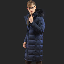 Marton Men's Down Jacket Plus Size Raccoon Dog Fur Collar Hooded Winter Down Coat Male Warm White Goose Down Jacket Clothing