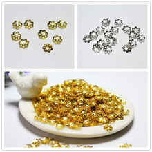 Wholesale 300 PCS 6mm Flower Spacers Beads Cup Metal Gold Silvery Plated For Jewelry Making Fit DIY Silvery Bracelet Necklace(China)