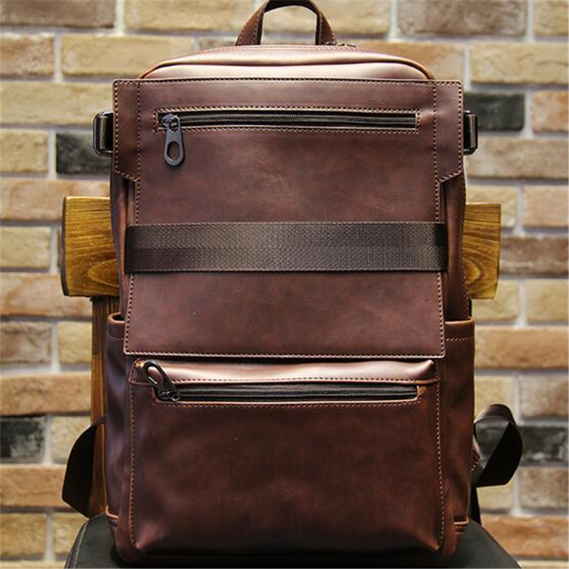 2016 Korean Style Men Backpack Top Quality Leather Double Shoulder Bags School Bag Book Rucksack for Male Travel Tote Bagpack(China (Mainland))