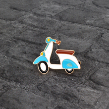 Cartoon Motorcycle Locomotive Brooch pin Enamel Metal Icon Pin Button Jacket Backpack Badge for Boy Girl Kids Jewelry Wholesale(China)