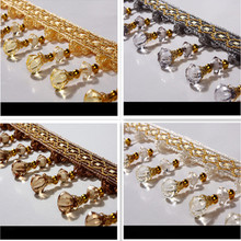 12Yard/Lot  12 Colors Curtain Lace Accessories Tassel Fringe Trim DIY Pumpkin Beads crystal bead Drapery Sewing Decoration