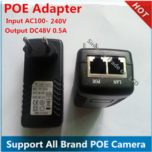 DC48 V 0.5A 100Mbps Base-T PoE Injector Power Adapter Compliant to IEEE802.3af input AC100-240V Support POE camera