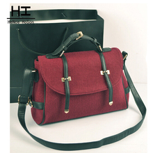 Messenger bag 2016 red women's handbag woolen fashion vintage bag one shoulder cross-body women's bags