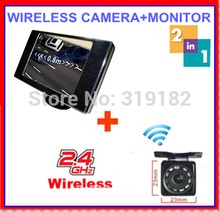 2.4ghz wireless camera RCA VideoTransmitter Receiver reverse camera connect 3.5 TFT LCD monitor 2 av in video for car safe park(China)