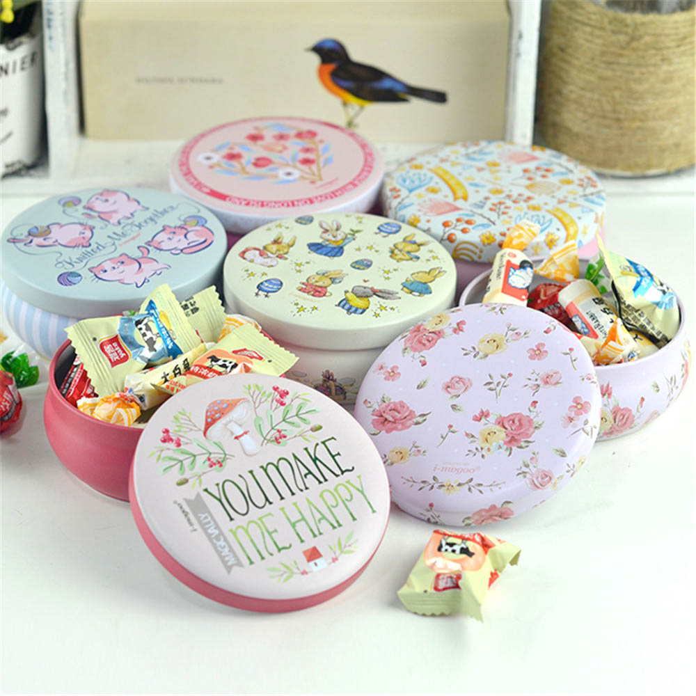 6Pcs Graceful Sweet Cute Korean Floral Pastoral Style Mini Iron Storage Tank Box Round Sealed Can Coffee Tea Candy Tin Container(China (Mainland))