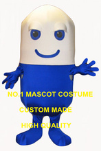 pill mascot costume blue wholesale adult size cartoon pill capsula theme anime cosplay costumes advertising fancy dress 2816(China)