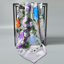 2017 Floral Print 100% Silk Twill Scarf Women's Top Grade Square Silk Scarves Wraps Shawl Charming Accessory