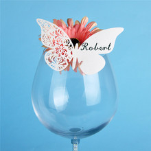 12PC Butterfly Laser Cut  Vine Flower Wine Glass Place Card Wedding Table Place Cards for Party Wedding Favors and Gifts Decor