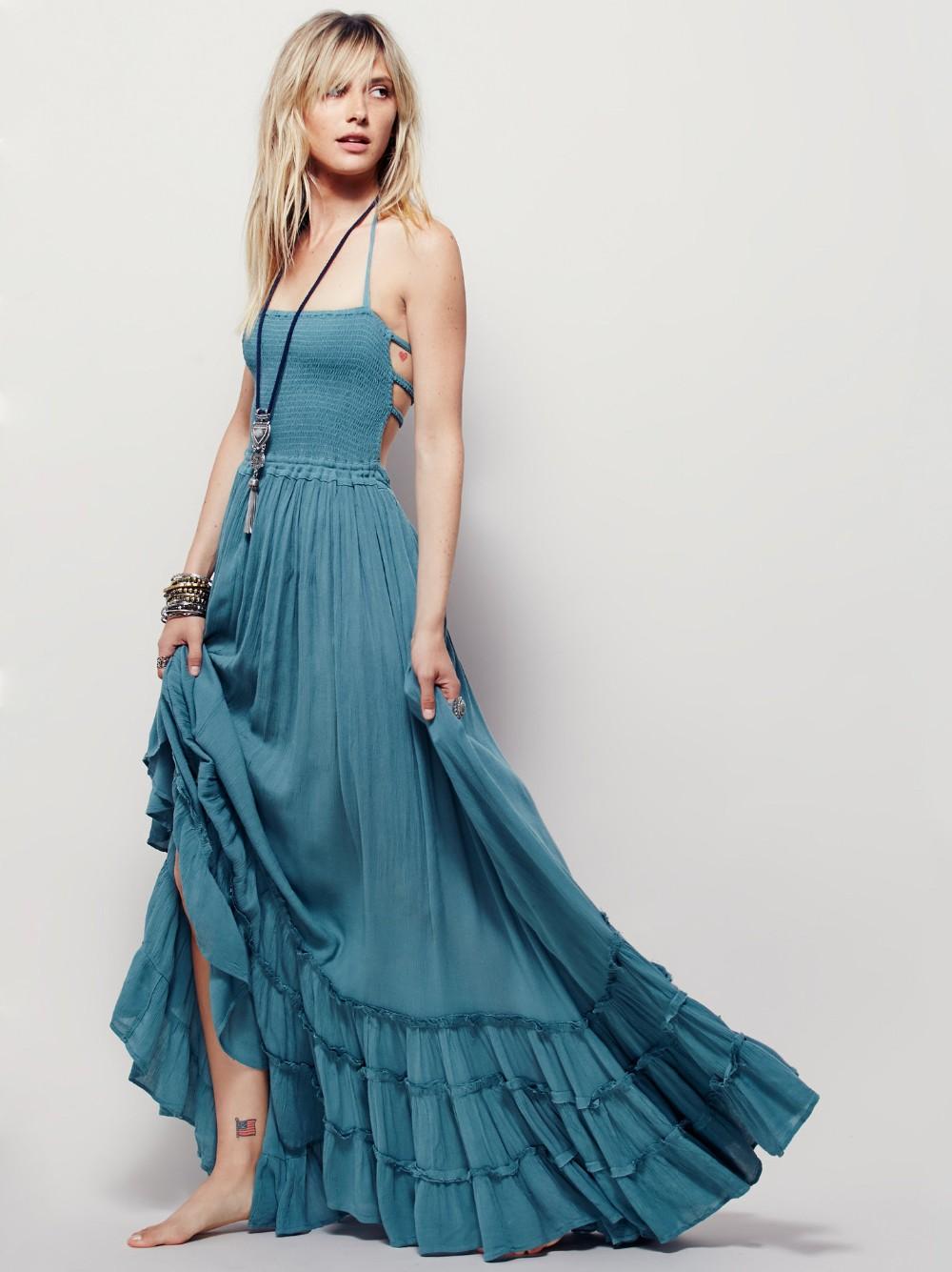 Women Backless Beach Dress Bohemian Casual Maxi Dress Summer Evening ...